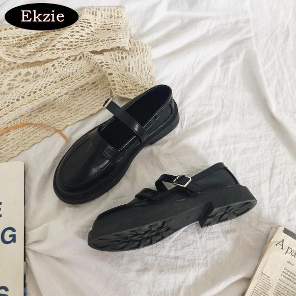Xuân hè mới 2021 Hàn Quốc nữ Nhật Anh đen gót dày đế dày khóa nông mũi tròn giày da nhỏ Mary Jane giày nữ retro ngọt ngào thích hợp cho những buổi tiệc hẹn hò thư giãn hàng ngày giá rẻ