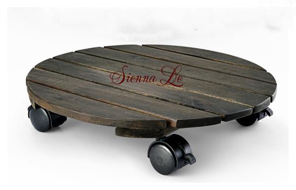 [Sienna Le] Đế Lót Tròn Nâng Chậu Cây Chậu Hoa Di Động Có Bánh Xe Xoay 360, Đế Gỗ Màu Đen Đường Kính 35 cm