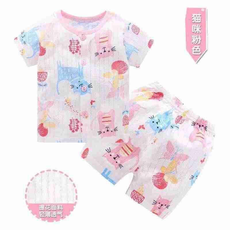 Bộ quần áo cotton giấy tay ngắn cho bé trai và bé gái từ 0 đến 3 tuổi hàng Quảng Châu( Nhiều mẫu ngẫu nhiên) Nhật Bản