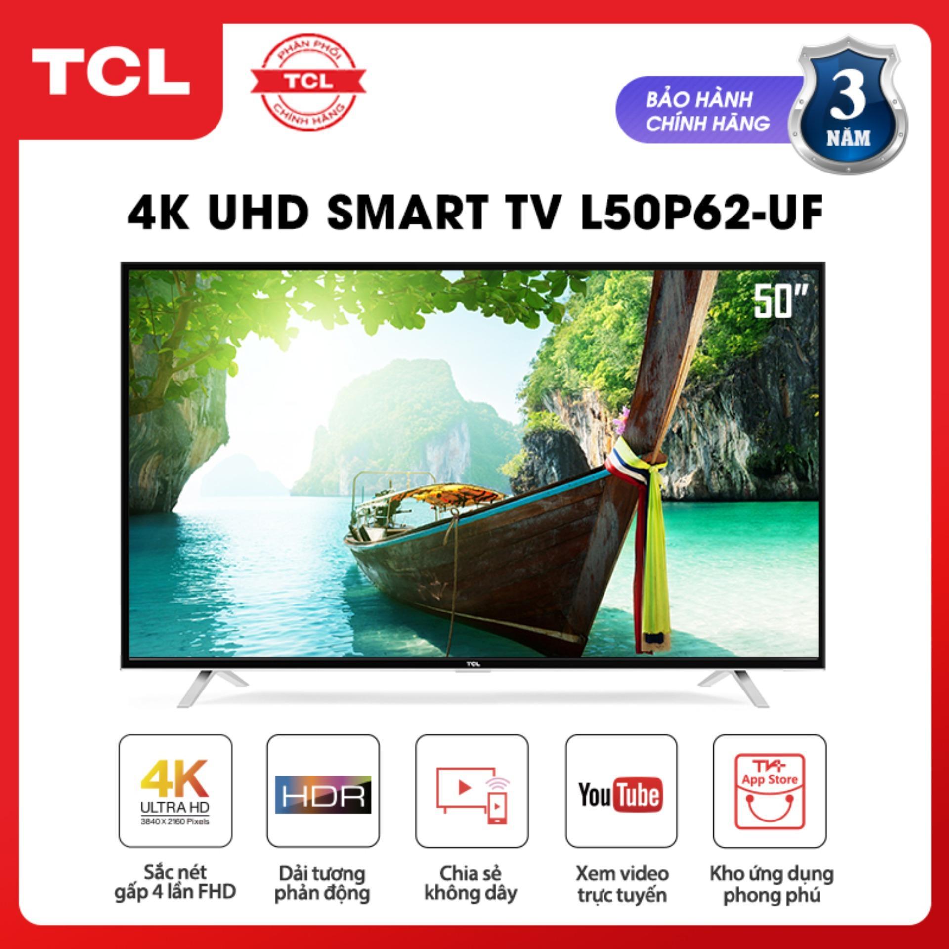 Bảng giá Smart TV 50 inch TCL 4K UHD wifi - L50P62-UF - HDR, Micro Dimming, Dolby, T-cast - Tivi giá rẻ chất lượng - Bảo hành 3 năm