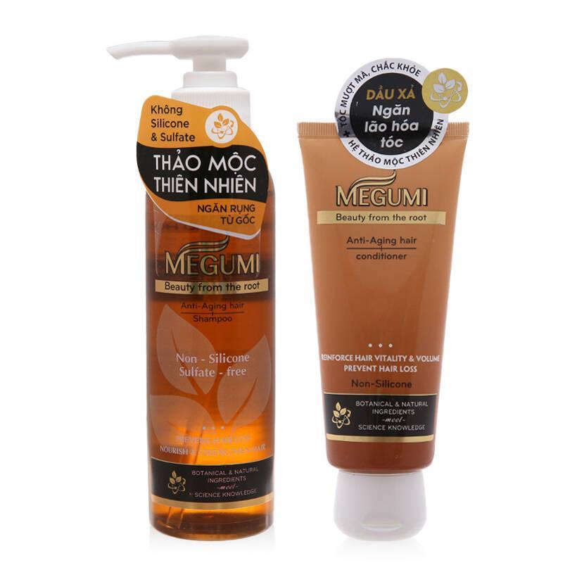 Combo dầu gội và dầu xả ngăn rụng tóc Megumi, sản phẩm của Rhroto Mentholatums, Việt Nam giá rẻ