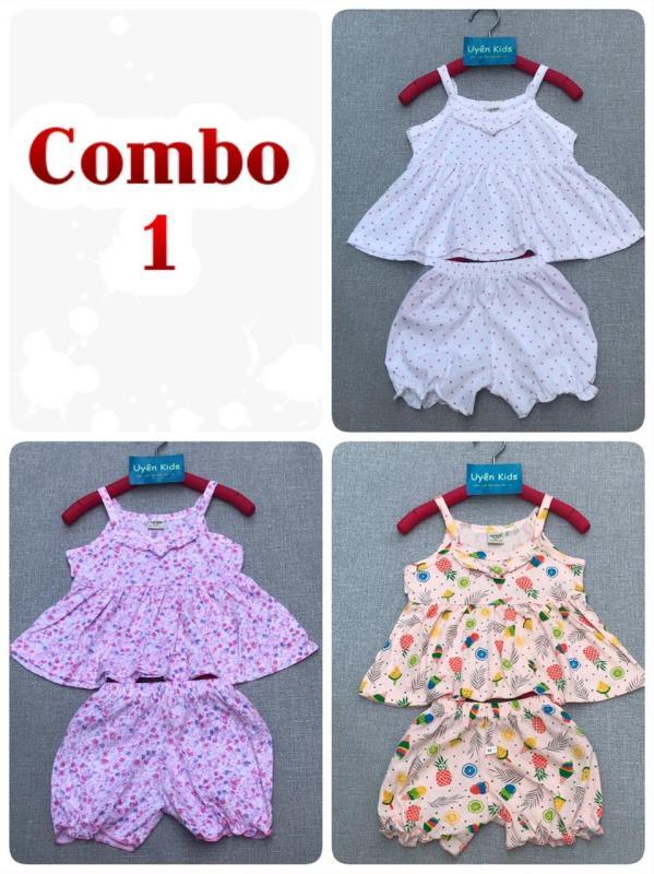 Nơi bán Combo 3 bộ dây vạt bèo dễ thương, mát mẻ cho bé gái 7-20kg - mẫu mới