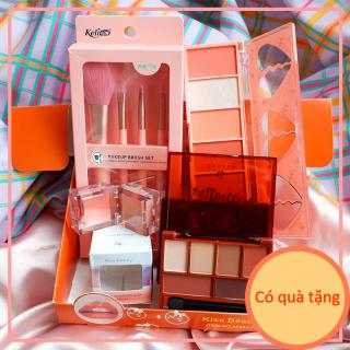 Kiss Belle Shop Bộ mỹ phẩm trang điểm 4 món - Bộ phấn mắt má hồng (Bộ cọ trang điểm 4 món + phấn mắt Phấn má hồng( 6 màu)+ 6 màu phấn mắt + 2 màu má hồng dạng kem) thumbnail