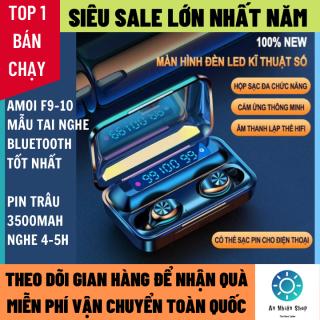 Tai nghe bluetooth AMOI F9 Thế Hệ Thứ 10 Bản Nâng Cấp màn hình LED hiển thị pin, nút cảm ứng, micro 2 bên - Tai nghe bluetooth mini - Tai nghe bluetooth chống ồn nhét tai tốt hơn i11,i7s,i9s, i12s, amoi f9 - Tai nghe buetooth thumbnail