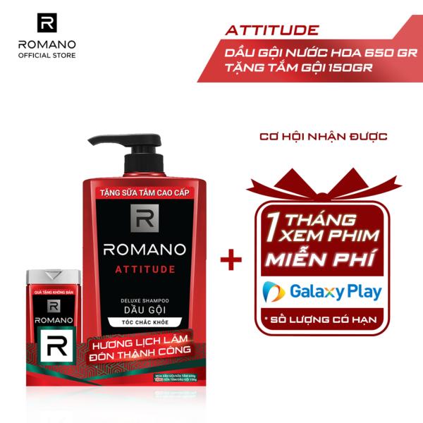 Dầu gội Romano Attitude nồng ấm cá tính nhanh chóng tiện dụng 650gr - Tặng Tắm gội 2 trong 1 Romano Attitude 150g