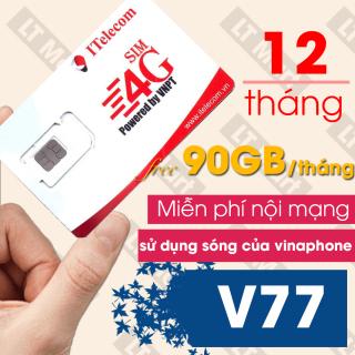 SIM 4G vinaphone itelecom Tặng 90GB Tháng MAY V77 Itelecom + Miễn phí cuộc gọi thumbnail
