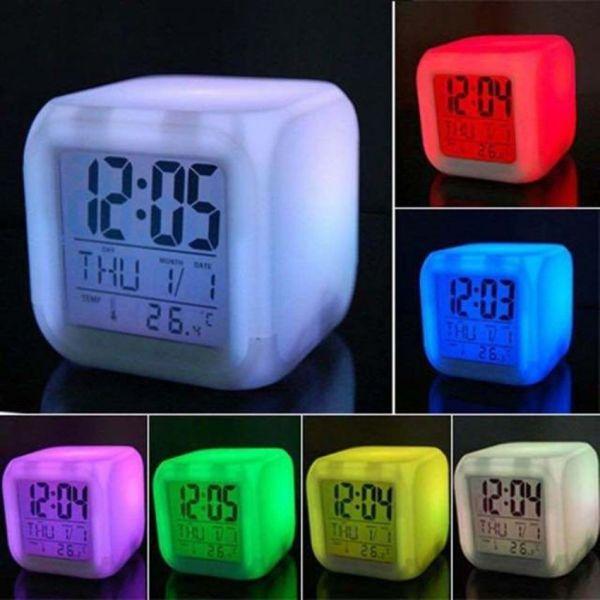Đồng hồ báo thức hình vuông kết hợp đèn ngủ đổi màu sáng tạo hiển thị nhiệt độ ngày tháng , đồng hồ đa năng Home smart