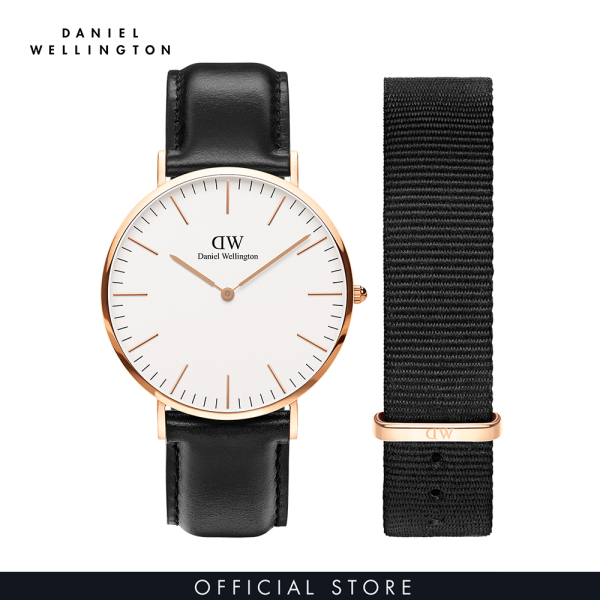Đồng hồ Nam Daniel Wellington dây da, vải nato - Classic Combo 40mm DW00500002 bán chạy