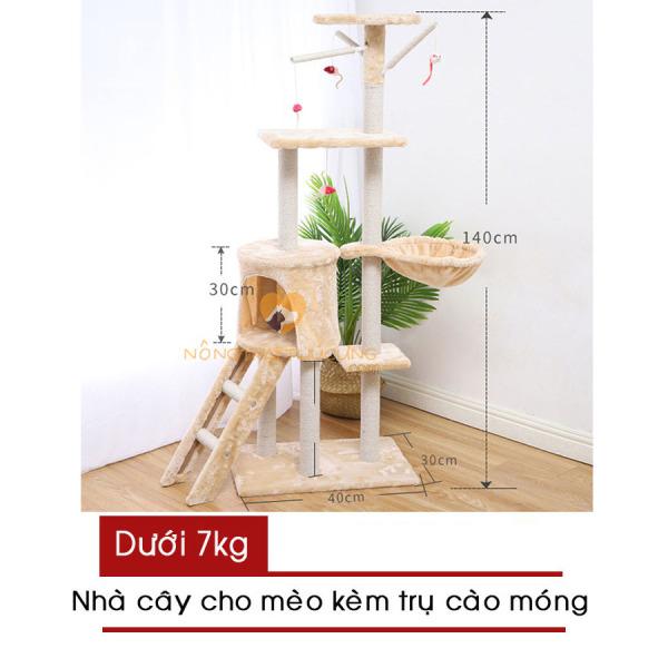 Cat Tree – Nhà Cây Cho Mèo Kèm Trụ Cào Móng (Màu Kem/ Xám) Hàng có sẵn – Mã 047706