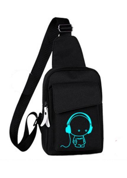 Túi đeo chéo dạ quang phát sáng hình cậu bé nghe nhạc ngỗ nghĩnh, tặng kèm khóa số chống trộm & ví mắt dạ quang Cực Cool - T63