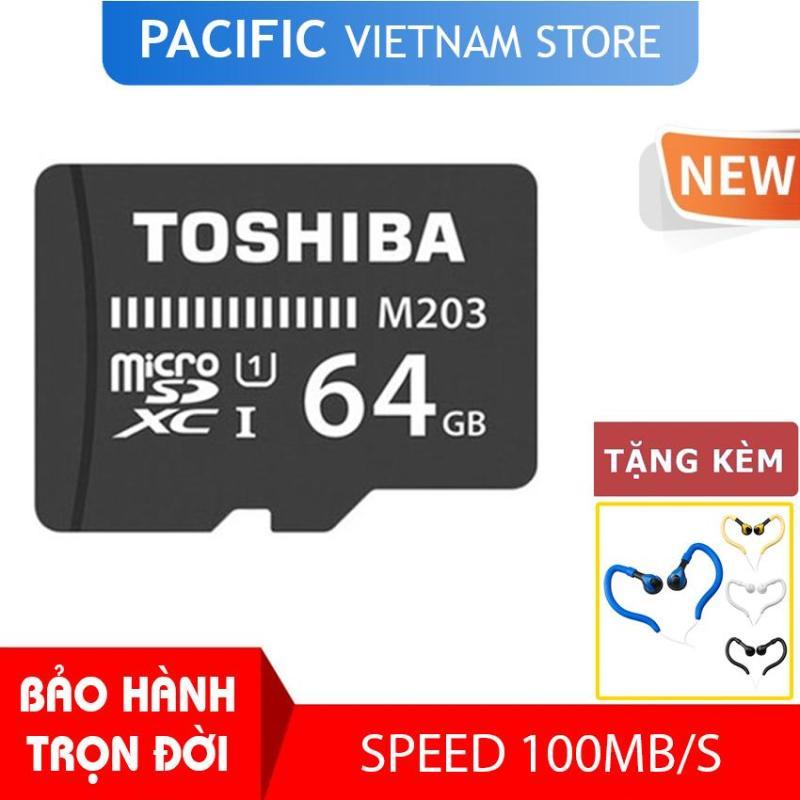 Thẻ nhớ Toshiba 64GB MicroSDHC UHS-I U1 100MB/s - Tặng Tai Nghe Móc Tai Kingrays EA4015