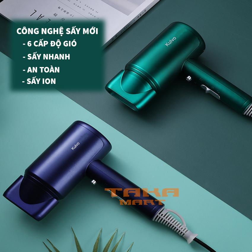 [Mẫu 2020] Máy sấy tóc - Máy sấy tóc Kulvo mẫu mới 2020 - Công nghệ sấy ion 3D - 6 chế độ sấy tóc - 02 chiều nóng lạnh - Taka Mart cao cấp
