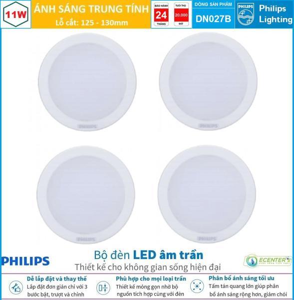 ( Bộ 4 ) Đèn Led Âm trần 11W Philips Downlight DN027B LED9 D125 ( Ánh Sáng Trắng & Trung Tính & Vàng )