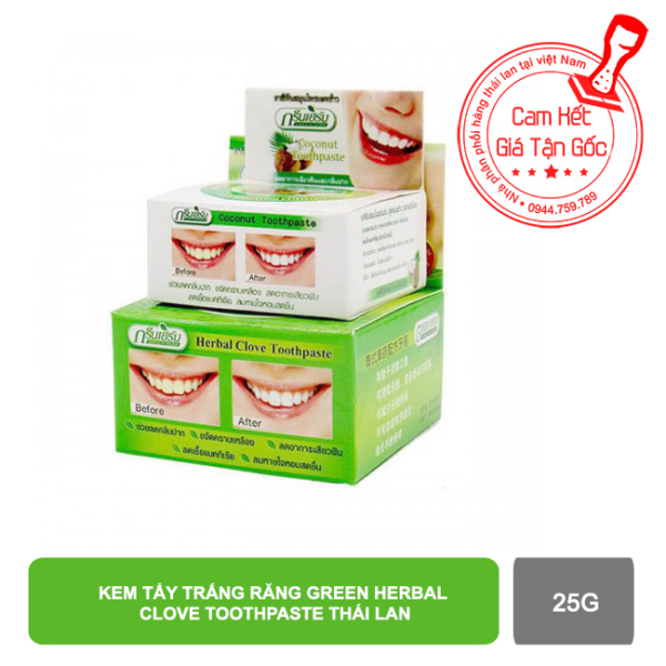 Kem tẩy trắng răng Green Herb Thái Lan 25g tặng hủ nhỏ 10g giá rẻ