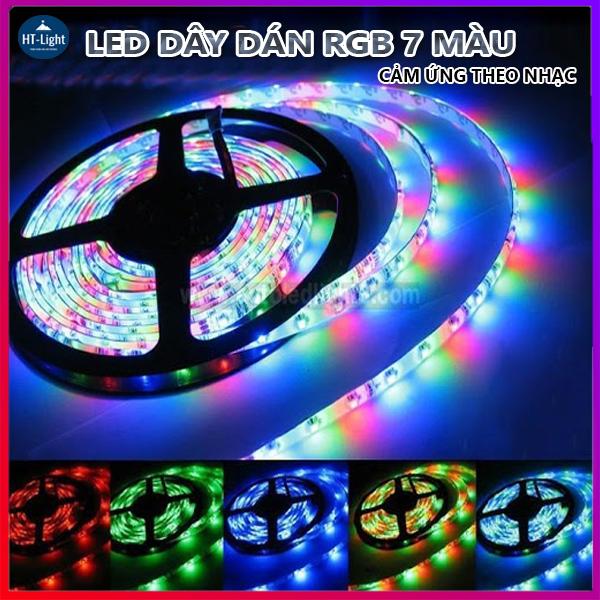 Bảng giá Cuộn dây Led dán đổi 7 màu RGB 5 mét 300 Bóng Chống nước- Phủ Silicon- Nháy theo nhạc