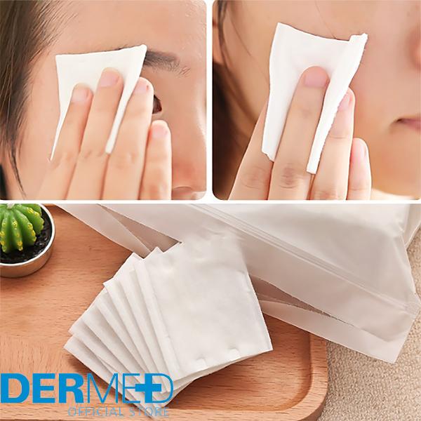 Bông Tẩy Trang 3 Lớp Dermed Pad  100% Cotton loại 30 miếng và 222 miếng Hàng Nội Địa Nhật Bản Túi Zip Lụa khóa kéo Tiện Lợi giá rẻ