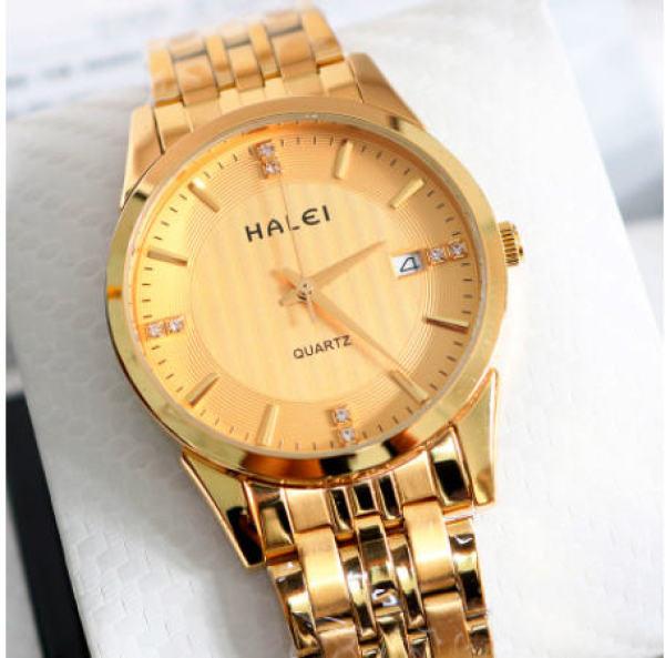 Đồng hồ nam chống nước có lịch ngày halei dây vàng mặt đen chống xước tuyệt đối  + tặng kèm vòng tay tì hữu may mắn tài lộc + hộp bán chạy