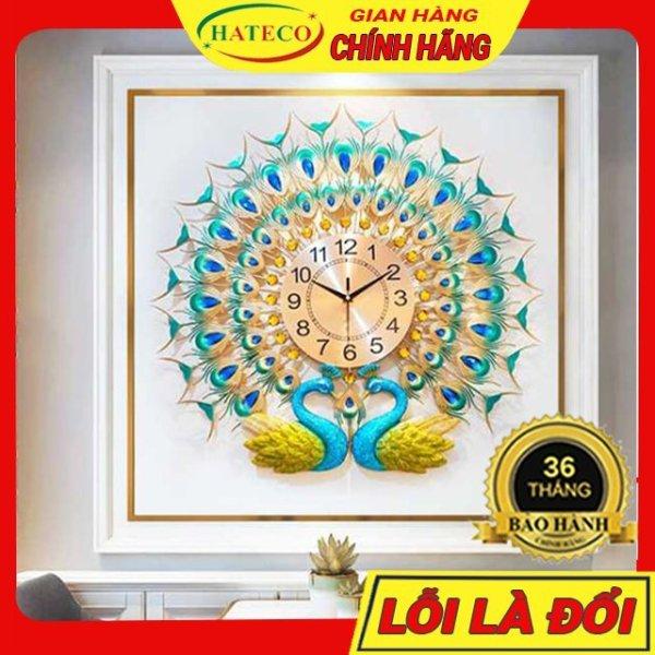 Nơi bán Đồng Hồ Treo Tường Con Công Trang Trí Phòng Khách HATECO TT013X Chính Hãng Bảo Hành 36 Tháng