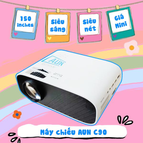 [ĐỘ PHÂN GIẢI CHUẨN HD] Máy chiếu AUN C90 HD - Độ sáng cao 3000 lumens - Máy chiếu mini xem phim Netflix - Máy chiếu mini kết nối điện thoại - Xem phim, nghe nhạc, lướt web - Công suất 90W