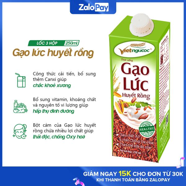 Thức uống Gạo lức huyết rồng Việt Ngũ Cốc lốc 3 hộp 250ml