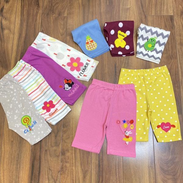 Giá bán combo 5 Quần legging lửng thêu họa tiết cho bé gái