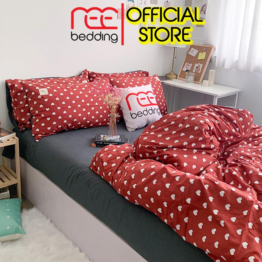 Bộ Chăn Ga Gối Cotton Hoạt Tính REE Bedding CHT16 đỏ đô Trái Tim Dễ Thương đủ Size Giường Nệm Đang Trong Dịp Khuyến Mãi