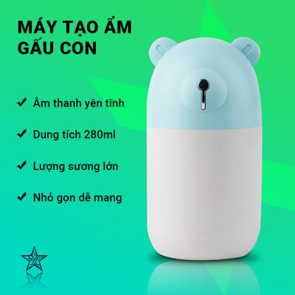Máy tạo ẩm đèn LED 7 màu Cát Thái M3 âm thanh nhỏ yên tĩnh khi hoạt động, cung cấp độ ẩm cho da, mang lại giấc ngủ thoải mái, lượng sương lớn, dung tích 280ml, nhỏ gọn