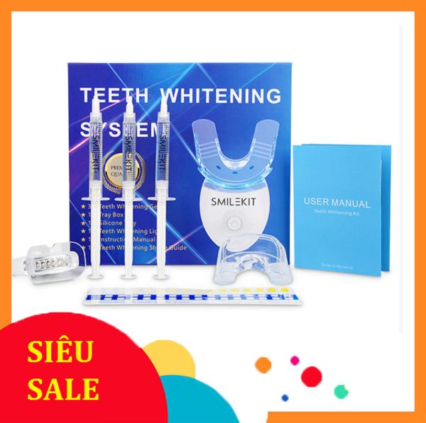 Máy làm trắng răng tự nhiên Smile Kit, máy tẩy trắng răng bằng kem tại nhà cực đơn gian, nguyên liệu từ thiên nhiên giúp răng trắng sáng, hết ố vàng,hơi thở thơm mát, Hiệu quả rõ ràng chỉ sau 1 thời gian ngắn giá rẻ
