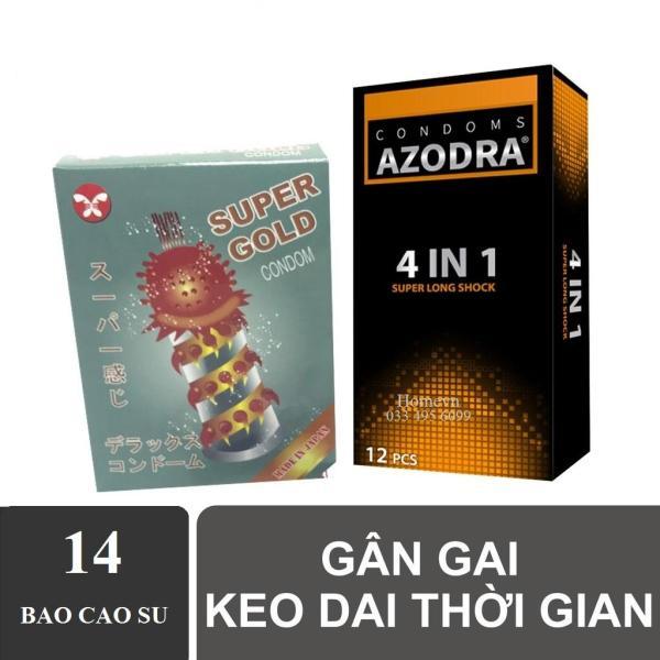 Combo 1 hộp Bao cao su tổng hợp Gân gai kéo dài thời gian AZODRA hộp 12c tặng 1 hộp bcs gai lớn 2c
