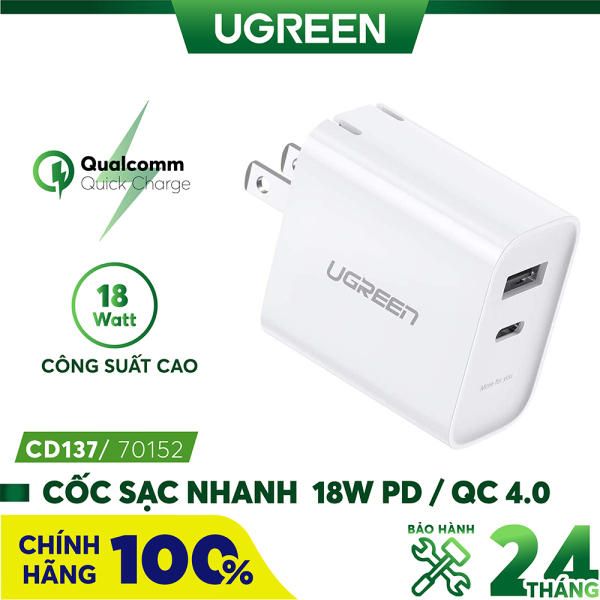 [BH 24 tháng 1 đổi 1] Sạc nhanh 18W PD / QC 4.0 UGREEN CD137  - Hỗ trợ sạc nhanh PD 18W 50% pin trong 30 phút cho iPhone 11 Pro Max/ iPhone 11 Pro / iPhone Xs Max / iPhone 8 Plus, sạc nhanh Quick Charge 4.0, 3.0 cho Samsung / Android