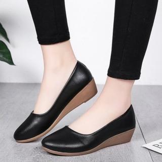 Giày nữ bít mũi đế xuồng cao 3cm kiểu trơn da lì siêu nhẹ siêu mềm C26n có ảnh thật thumbnail