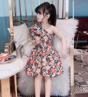 Đầm váy bé gái kiểu lệch vai nơ to siêu xinh chất thô hàn mềm mại cho bé gái từ 14kg đến 30kg( màu xanh, đỏ, hồng, đen)
