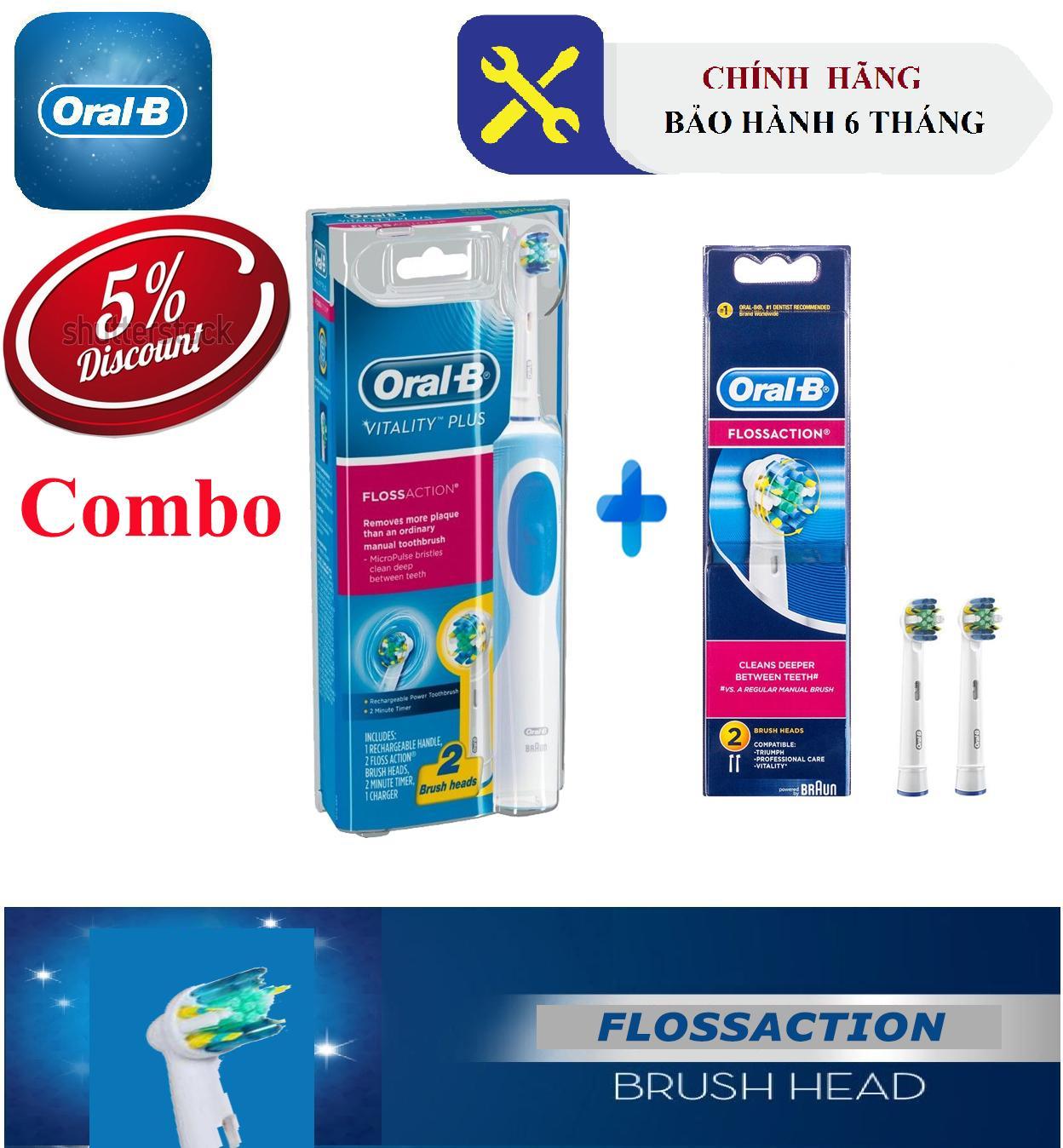Combo Bàn chải đánh răng Oral-B Flossaction (Bảo hành 6 tháng) + Bộ 2 đầu Oral-B Flossaction