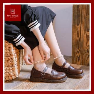 Giày oxford nữ LOLITA RETRO đơn giản 2 màu đen/nâu mũi tròn khâu viền chắc chắn bền đẹp mới quai cài đế bằng đi học đi chơi đi làm giá rẻ trẻ trung năng động quai cài ngang - UMI SHOES