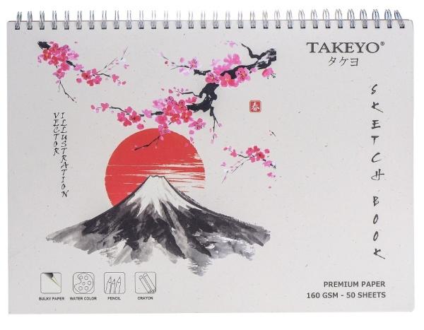 Sổ vẽ Takeyo A3 lò xo 8526 (Sketch book) 50 tờ kỳ quan thế giới