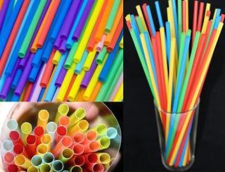 Ống hút nhựa dùng 1 lần - Cavali - Túi 500gr ống hút nhựa nhiều màu và màu trắng thumbnail
