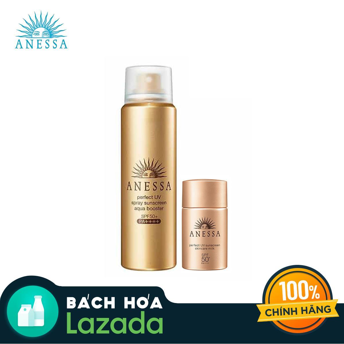 Bộ đôi Xịt chống nắng tiện lợi khô thoáng và Sữa chống nắng kiềm dầu bảo vệ hoàn hảo Anessa Perfect UV Sunscreen Skincare không nhờn rít (Skincare Spray 60g + Skincare Milk 20ml) tốt nhất
