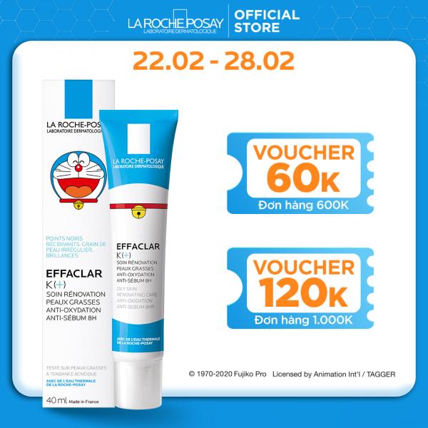 [Phiên bản Doraemon] Kem dưỡng giúp cải thiện bề mặt da, giảm mụn đầu đen và giảm bóng nhờn La Roche Posay Effaclar K+ 40ml giá rẻ