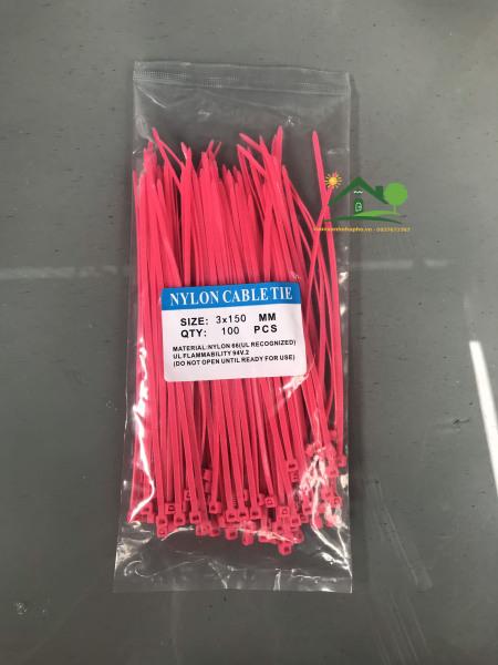Dây rút nhựa màu hồng đậm 2.5x150mm