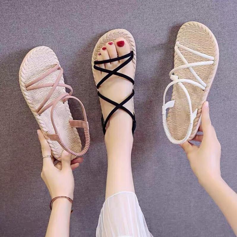 Giày Sandal Nữ Quai Chéo Đế Giả Cói Đi Mưa giá rẻ