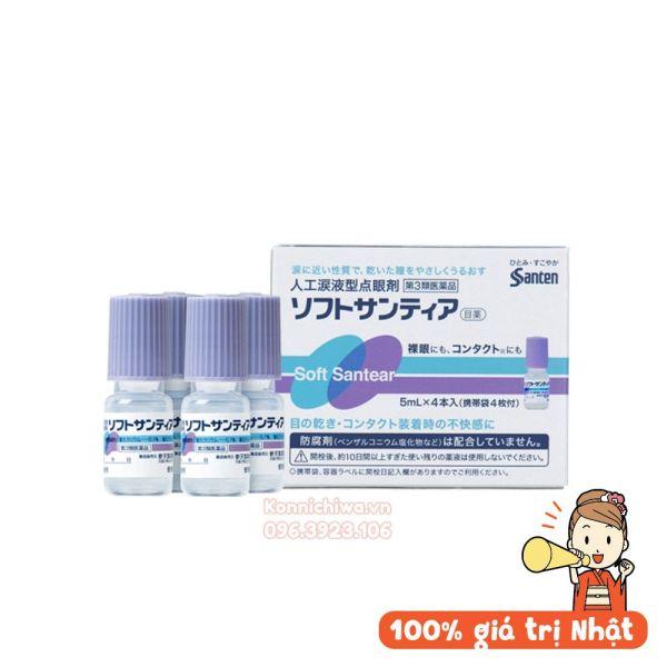 Nước nhỏ mắt nhân tạo soft santear 4 lọ 5ml Santen hàng Nhật nội địa | Soft Santear nước mắt nhân tạo của Nhật set 4 lọ