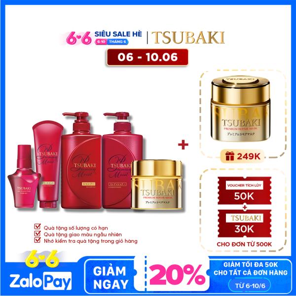 [COMBO TIẾT KIỆM] Bộ sản phẩm chăm sóc Tsubaki giúp dưỡng tóc bóng mượt hoàn hảo và ngát hương không cần chờ cao cấp