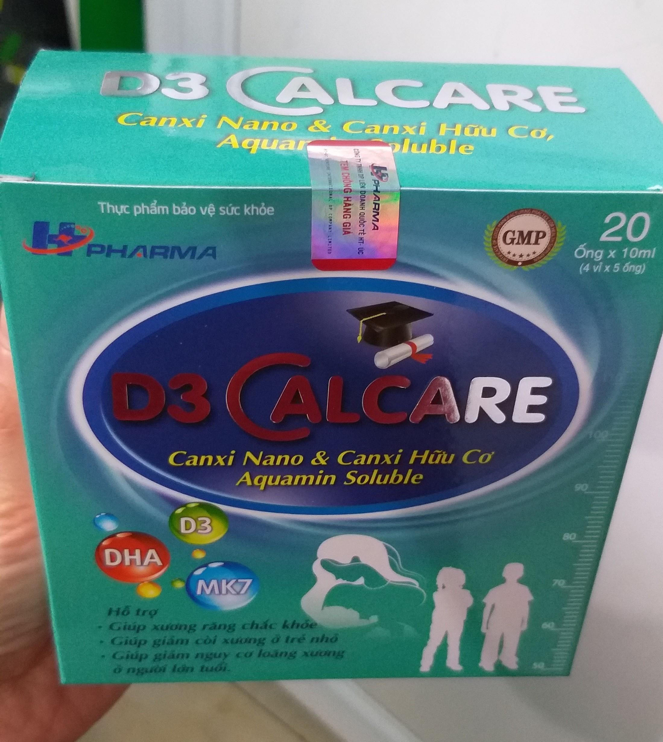 D3 Calcare Bổ sung canxi nano thệ hệ mới,Canxi tảo biển, MK7, Vitamin D3 giúp bé phát triển chiều cao, ngừa còi xương suy dinh dưỡng