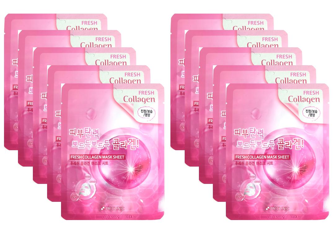 [New 2020] Combo 10 Mặt nạ dưỡng ẩm và dưỡng trắng da chiết xuất từ Collagen 3W Clinic Hàn Quốc