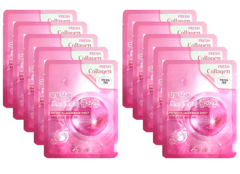 [New 2020] Combo 10 Mặt nạ dưỡng ẩm và dưỡng trắng da  chiết xuất từ Collagen 3W Clinic Hàn Quốc nhập khẩu