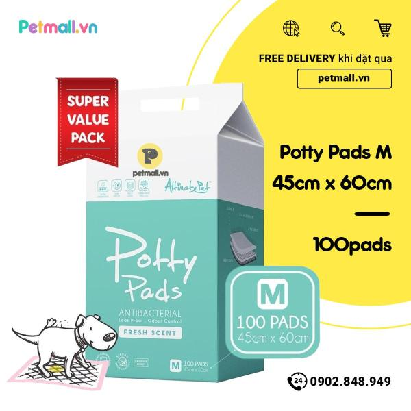 Tấm lót vệ sinh Potty Pads 45cm x 60cm 100 tấm Singapore thấm hút nhanh, giữ nước bên trong, kiểm soát mùi tuyệt đối, thích hợp cho cún đi vệ sinh và hỗ trợ vệ sinh cho chó già