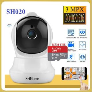 BH 5 NĂM-TUỲ CHỌN THẺ NHỚ CHUẨN YOOSEE 64GB- CAMERA GIÁM SÁT KHÔNG WIFI - SRIHOME CAMERA - SH020 - 3.0Mpx Full HD 1080p Camera IP Wifi giám sát, quan sát không dây thumbnail