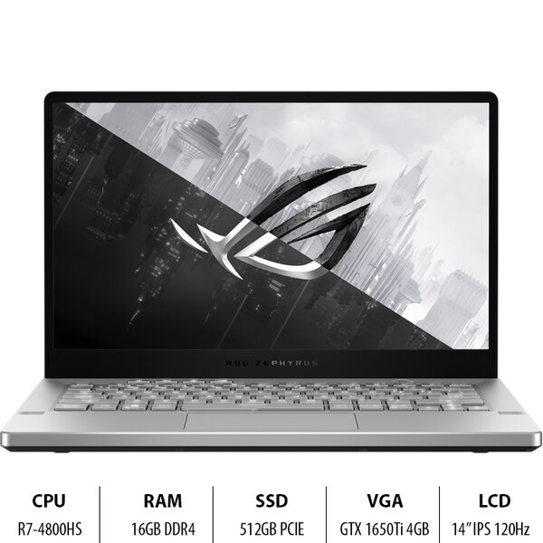 Bảng giá Laptop Gaming ASUS  GA401II-HE155T R7-4800HS/16GD4/512G-PCIE/14.0FHD/WF6/4C76WHr/TRẮNG/W10SL/4GD6-GTX1650Ti/Túi/Anime Phong Vũ