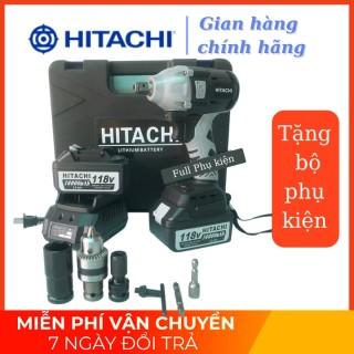 Máy siết bulong Hitachi 118V - 2 PIN - Đầu 2 trong 1 - KHÔNG CHỔI THAN - TẶNG BỘ PHỤ KIỆN thumbnail