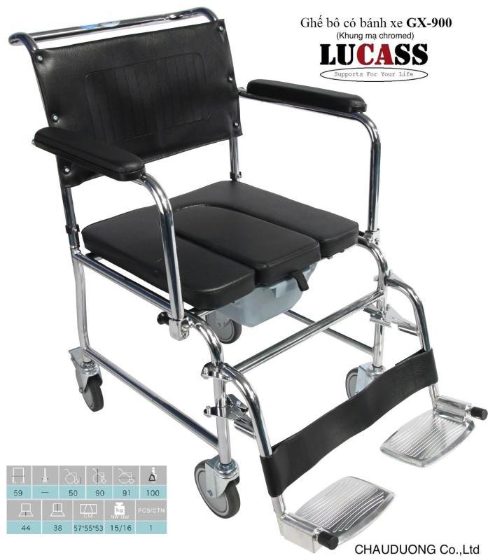 Ghế vệ sinh người già có gác chân và bánh xe cao cấp
